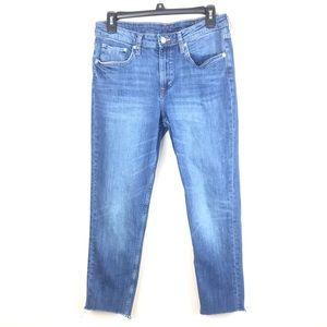H&M Girlfriend Fit Medium Wash Raw Hem Jeans